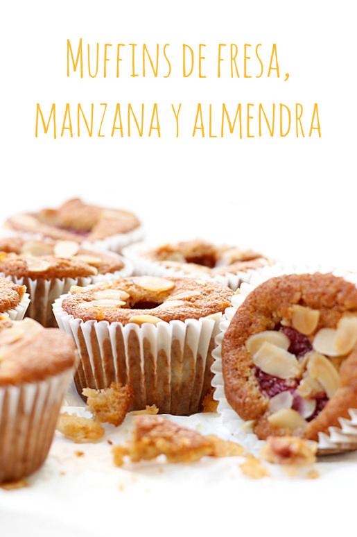 Muffins de fresa, manzana y almendra